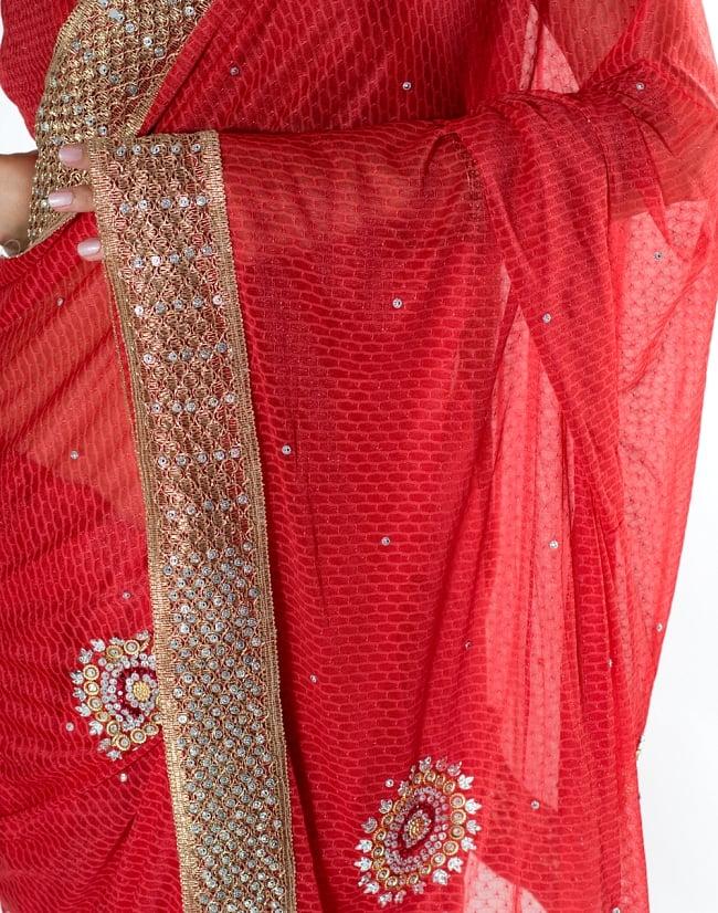 金糸とビーズ刺繍 レンガ模様のマハラニインドサリー【チョリ付き】 - 赤 6 - とても綺麗なサリーです