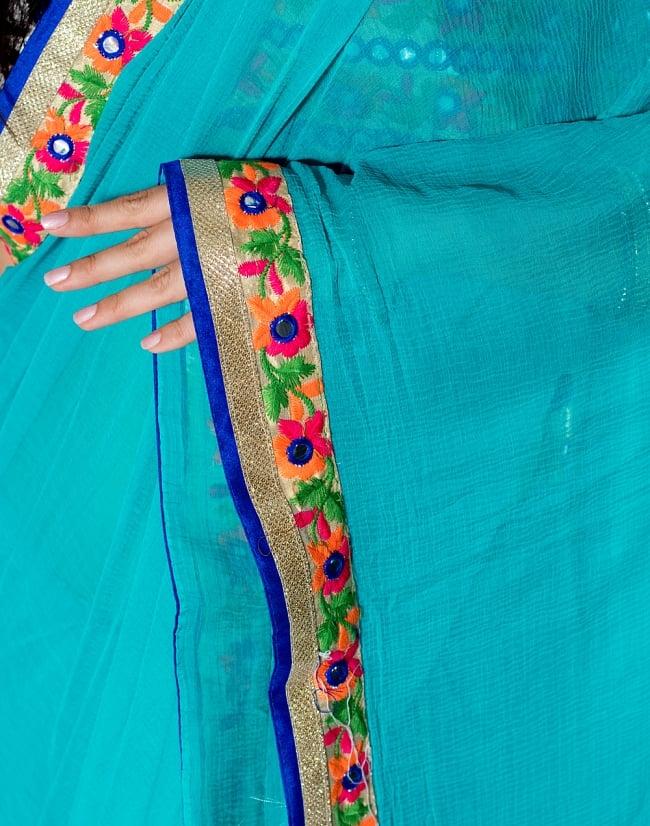 カッチ刺繍テイストのジョーゼットインドサリー【チョリ付き】 - ターコイズブルー 6 - とても綺麗なサリーです