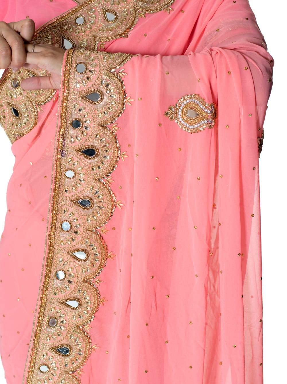 【一点物】ミラーワークと刺繍の婚礼用ゴージャス ジョーゼットサリー【チョリ付き】 - ピンク 6 - とても綺麗なサリーです