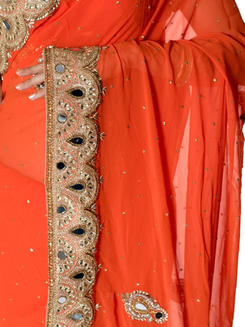 【一点物・ちょっと訳あり】ミラーワークと刺繍の婚礼用ゴージャス ジョーゼットサリー【チョリ付き】 - オレンジ 6 - とても綺麗なサリーです