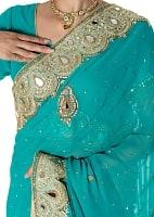 【一点物】ミラーワークと刺繍の婚礼用ゴージャス ジョーゼットサリー【チョリ付き】 - エメラルド