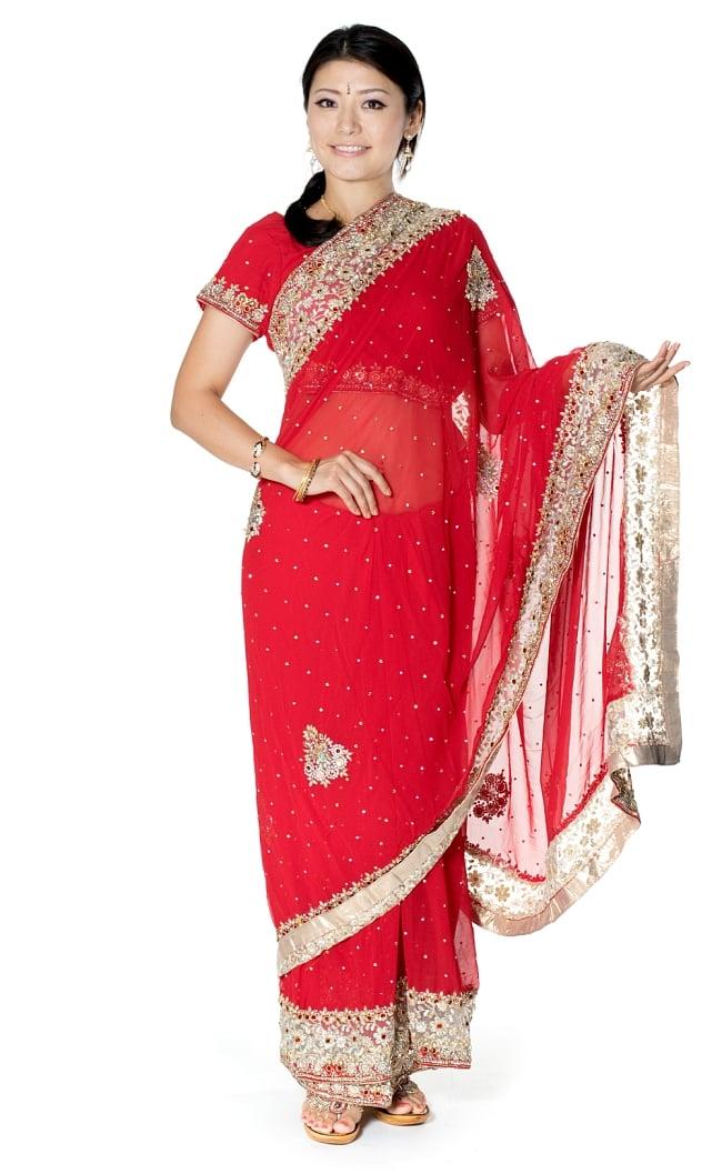【一点物】刺繍とビジューの婚礼用ゴージャス ジョーゼットサリー【チョリ付き】 - 赤の写真