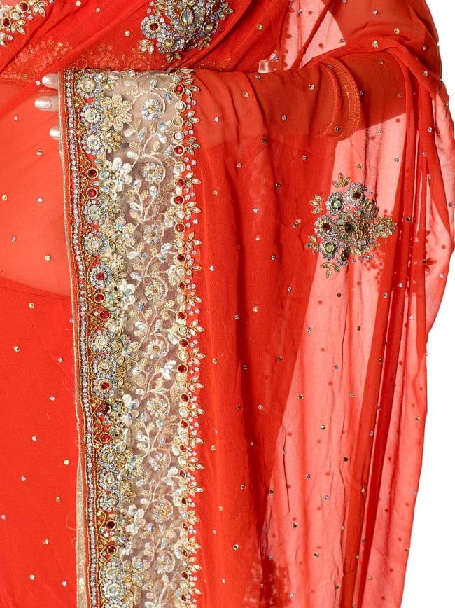 【一点物】刺繍とビジューの婚礼用ゴージャス ジョーゼットサリー【チョリ付き】 - オレンジ 6 - とても綺麗なサリーです