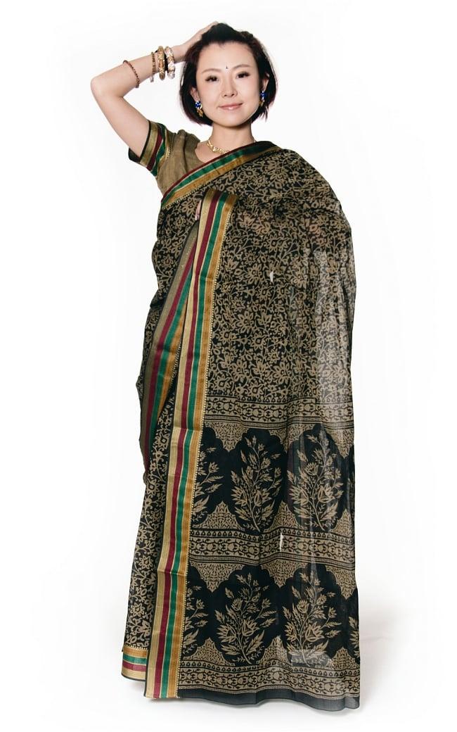 〔チョリ付き〕昔ながらのコットンサリー - 更紗の写真