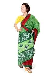 インドとアジアの布のセール品:[日替わりセール品]レトロボタニカル柄 カラフルサリー