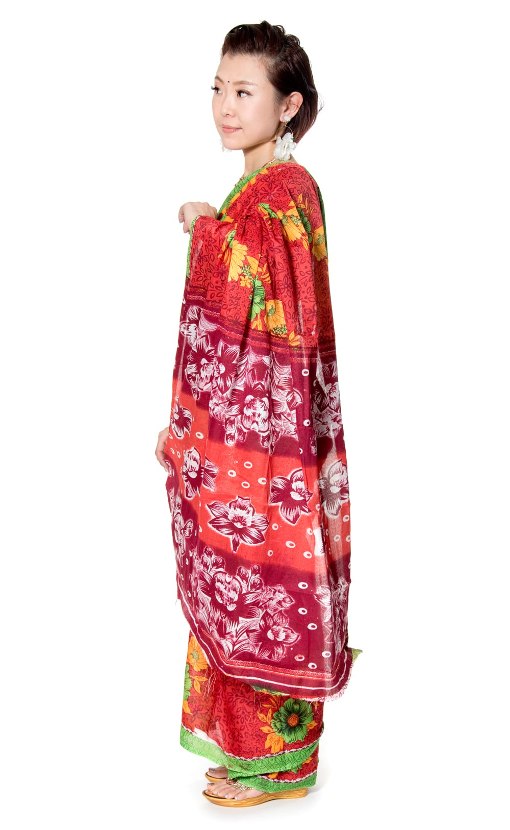 【お得なアソート】レトロボタニカル・伝統柄 カラフルサリー 3 - 横からの写真です