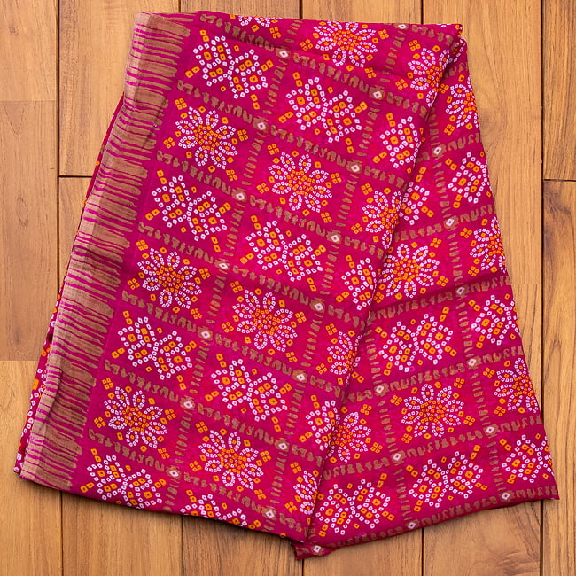 【8色展開】インド伝統模様バンディニプリントのインドサリー 11 - C:ピンク