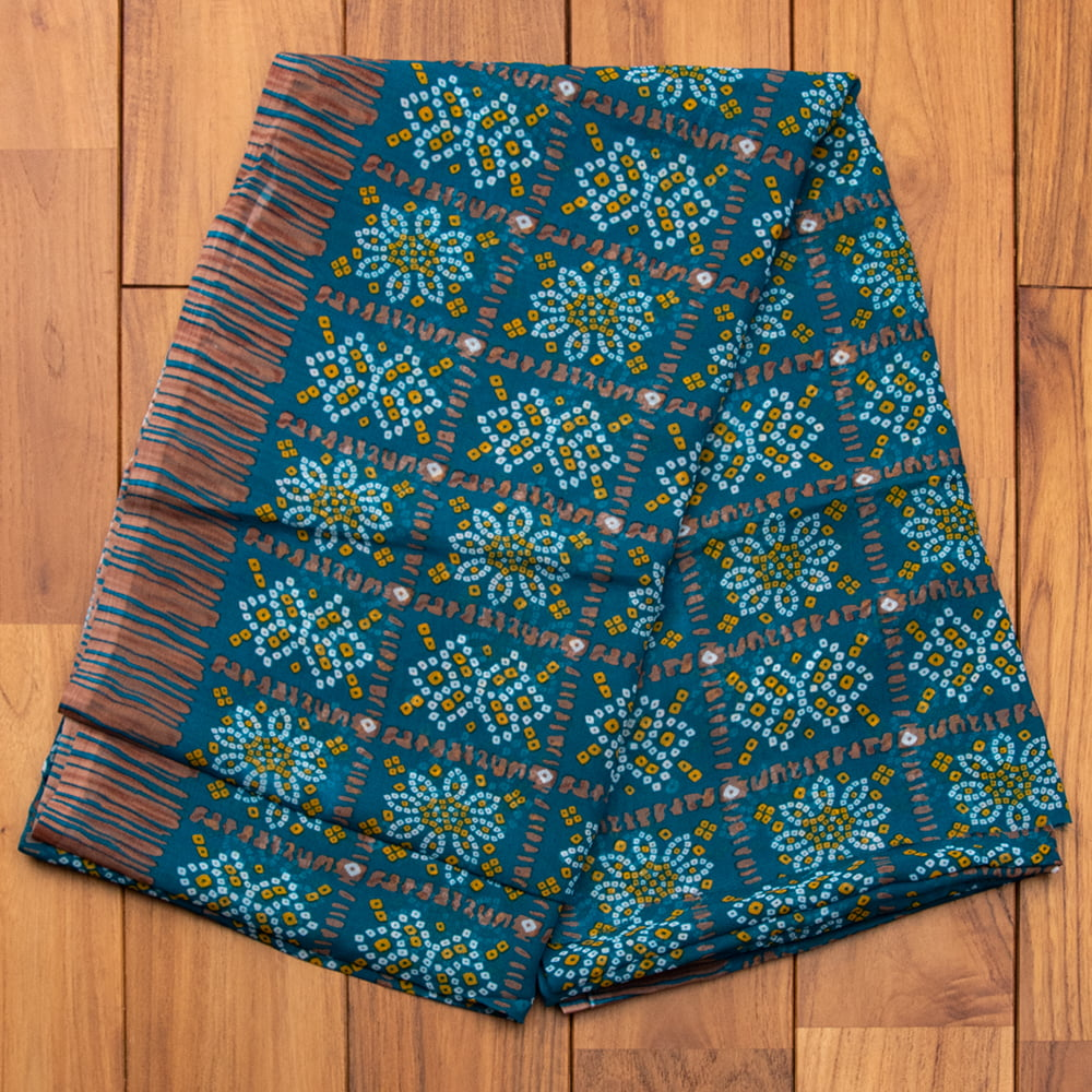 インド伝統模様バンディニプリントのインドサリー 13 - E:ターコイズグリーン