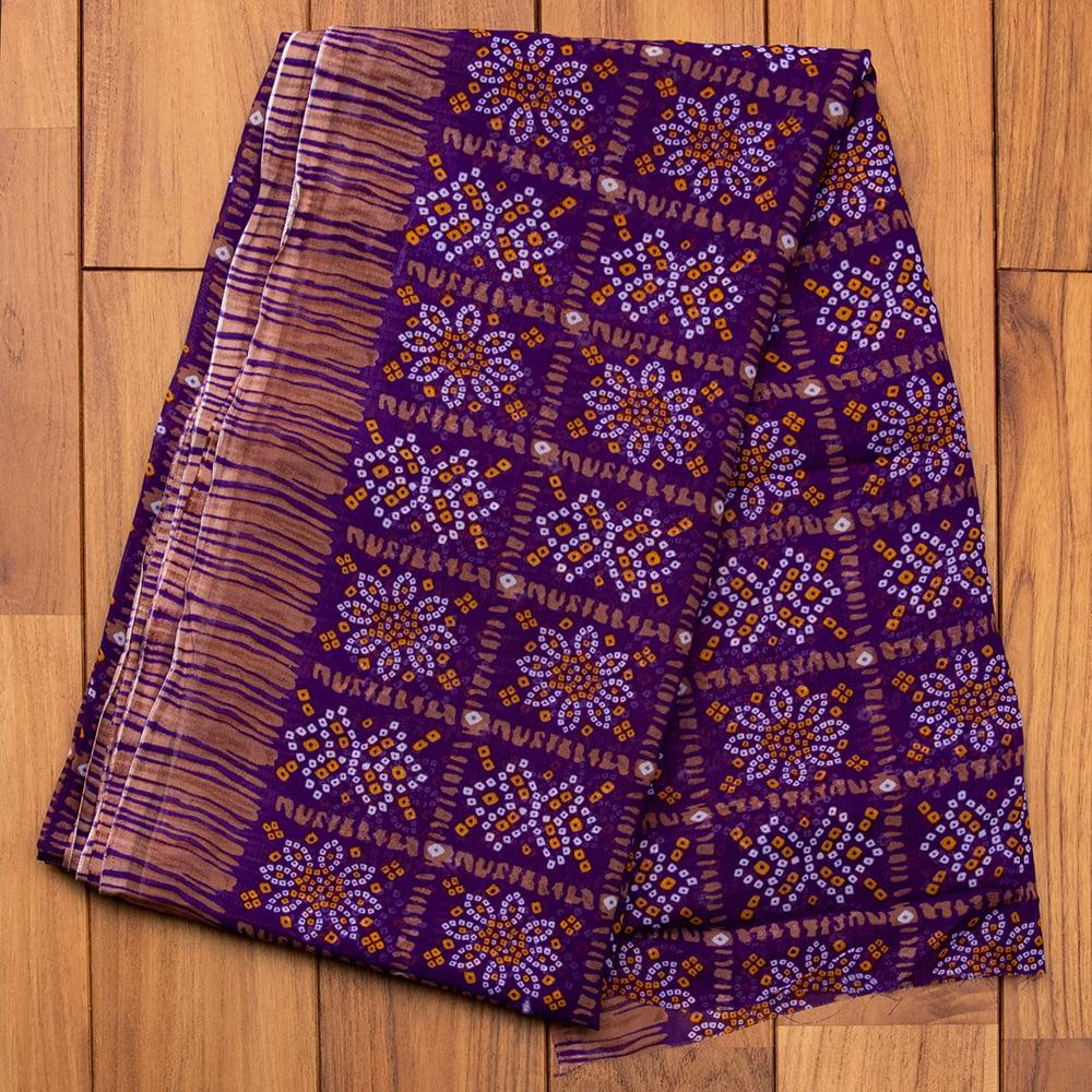 インド伝統模様バンディニプリントのインドサリー 14 - F:パープル