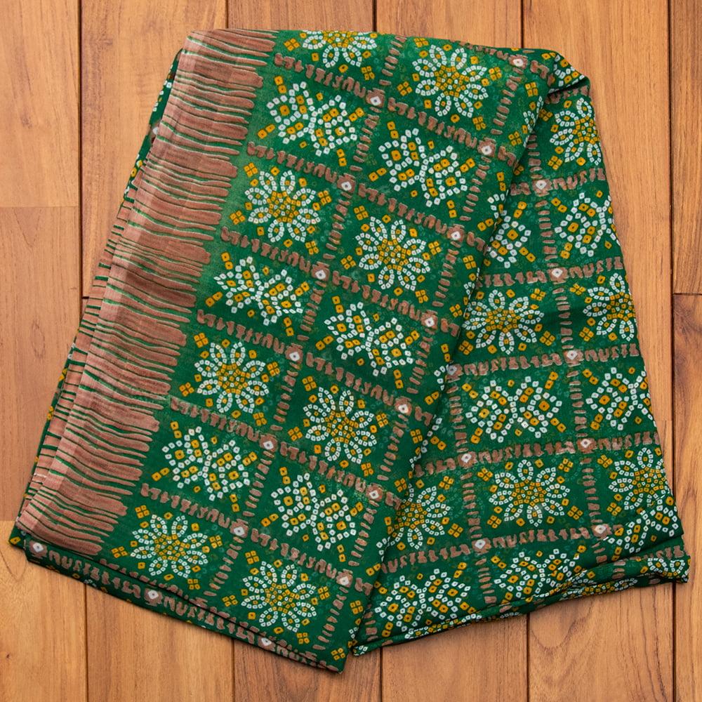 インド伝統模様バンディニプリントのインドサリー 15 - G:グリーン
