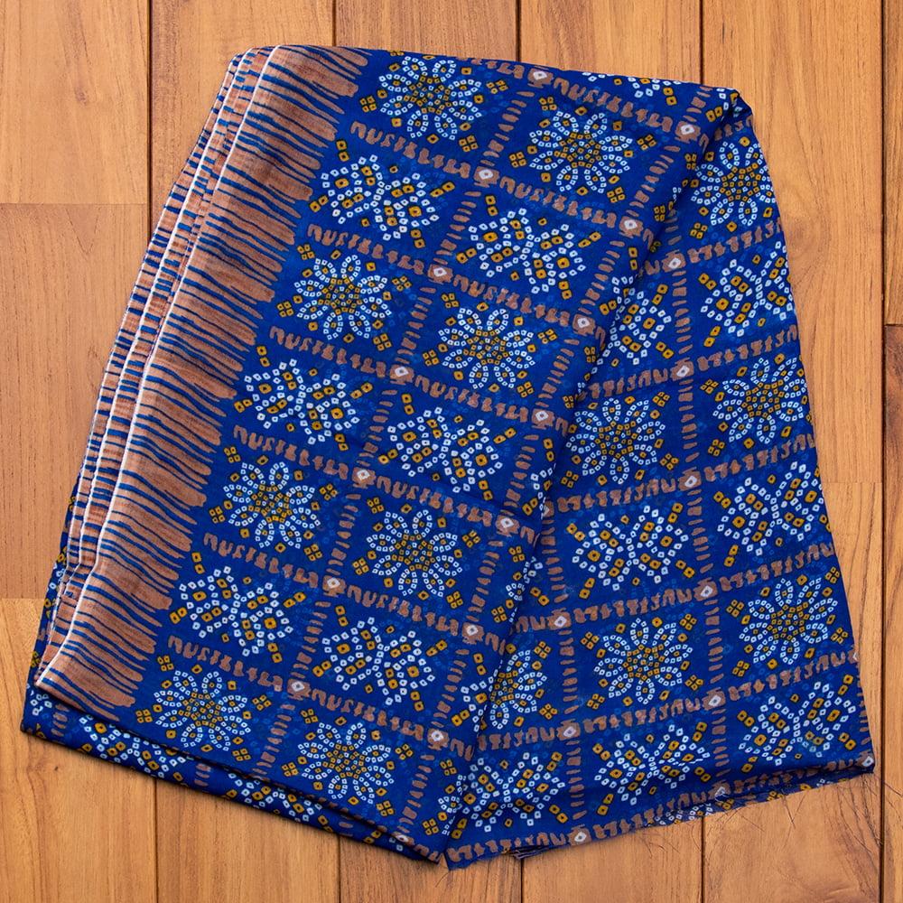 インド伝統模様バンディニプリントのインドサリー 16 - H:ブルー