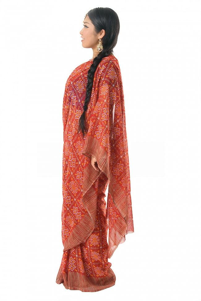 【8色展開】インド伝統模様バンディニプリントのインドサリー 2 - 違う角度から見てみました。