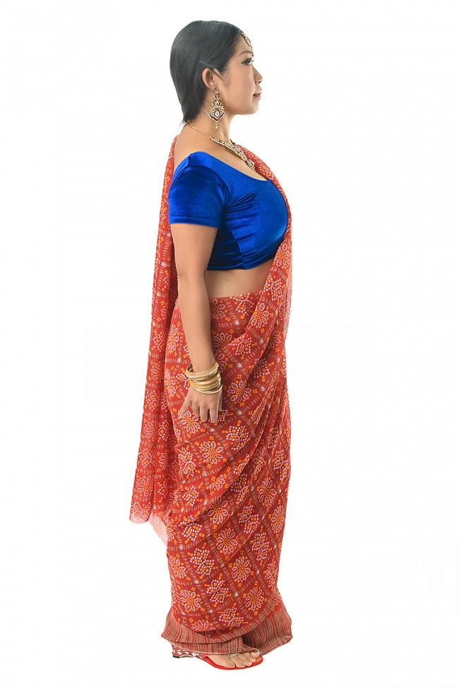 【8色展開】インド伝統模様バンディニプリントのインドサリー 4 - 違う角度から見てみました。