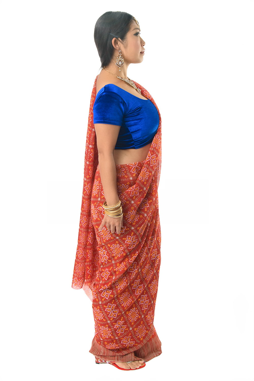 インド伝統模様バンディニプリントのインドサリー 4 - 違う角度から見てみました。