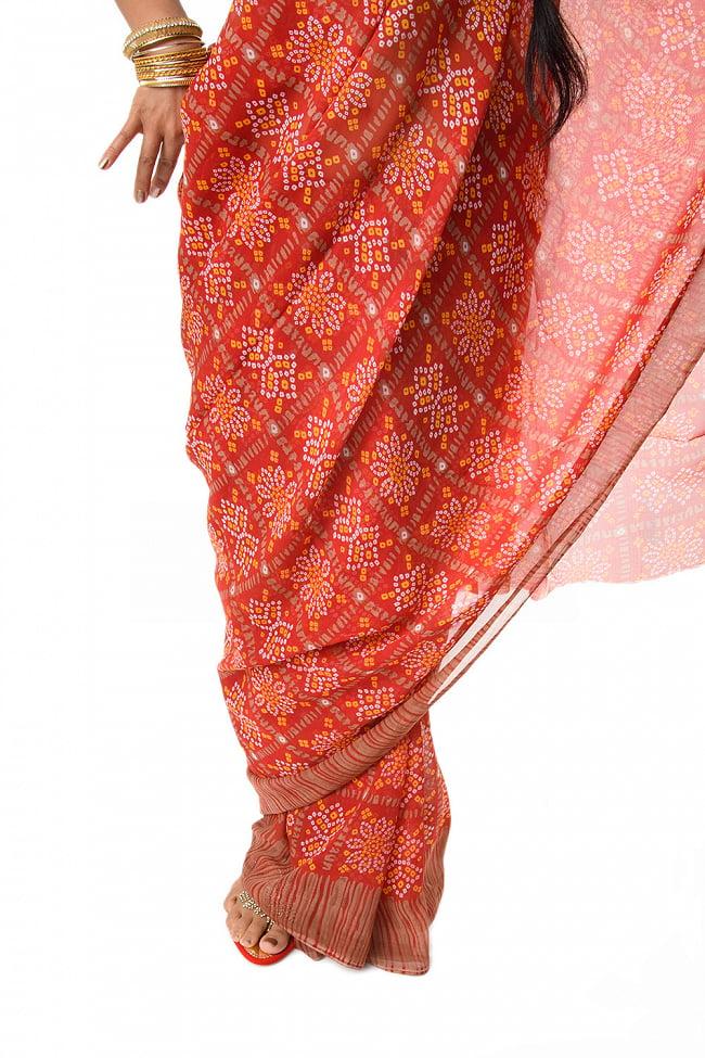 【8色展開】インド伝統模様バンディニプリントのインドサリー 8 - 裾周りの様子です。