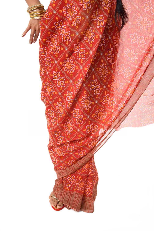 インド伝統模様バンディニプリントのインドサリー 8 - 裾周りの様子です。