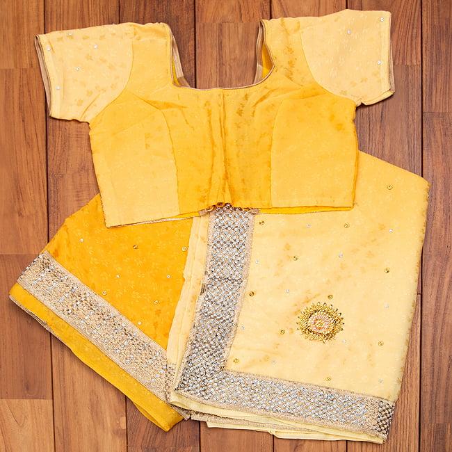 刺繍とビジューのグラデーション サリー【チョリ付き】 10 - 選択2:イエロー