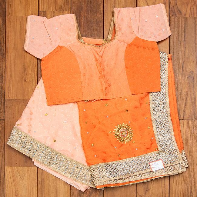 刺繍とビジューのグラデーション サリー【チョリ付き】 13 - 選択5:オレンジ