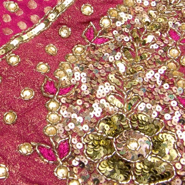 婚礼用ゴージャスサリー 3点セット -  4 - 布のアップです。大変丁寧に作られています