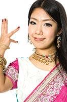 【1点物】婚礼用ゴージャスサリー3点セット【白×水色×ピンク】