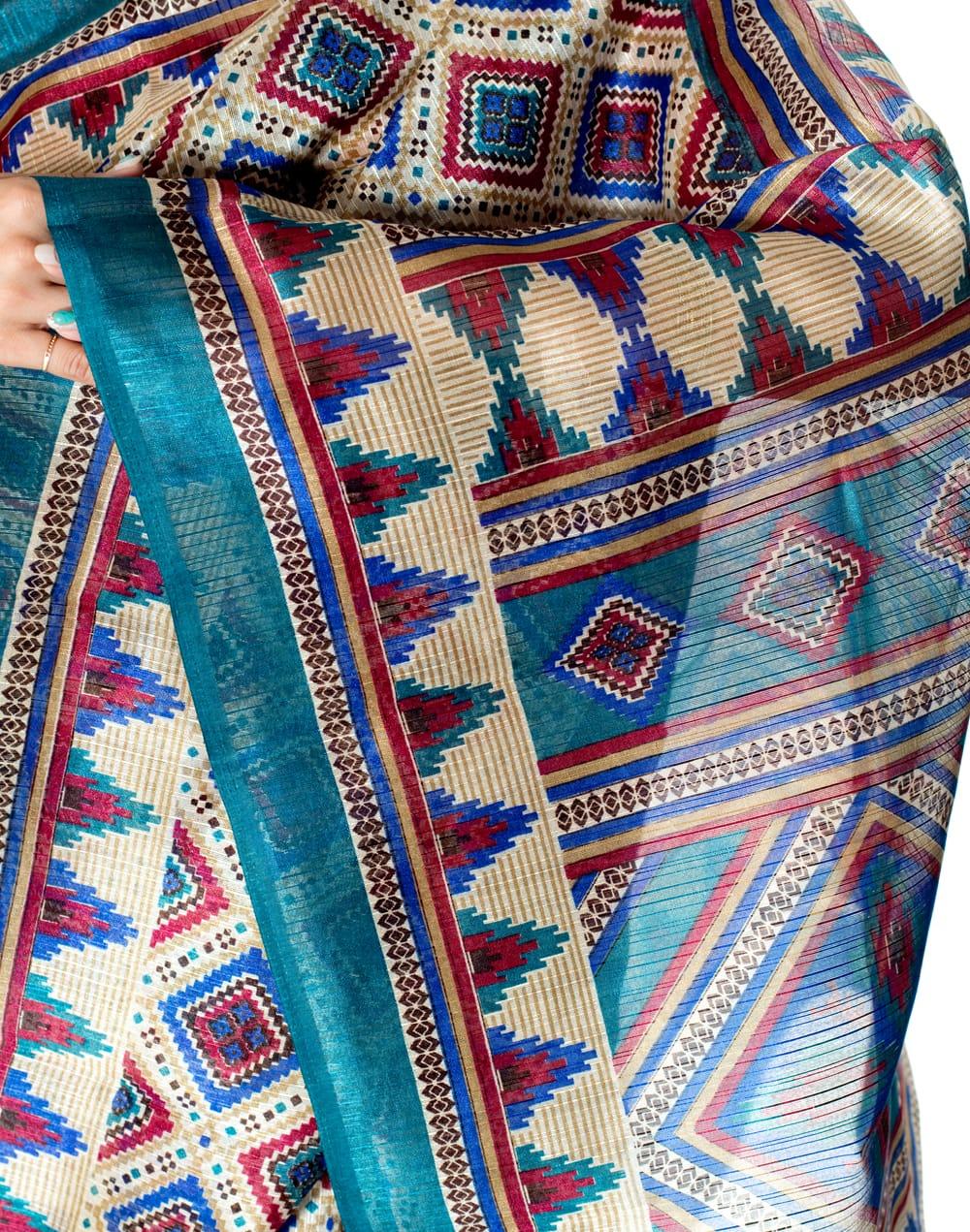 タッサーシルク風の光沢サリー【ひし形・伝統柄】 6 - ショール部分の写真です