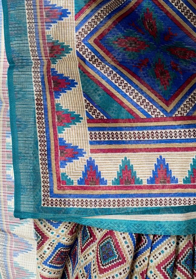 タッサーシルク風の光沢サリー【ひし形・伝統柄】 7 - 別の角度からの写真です
