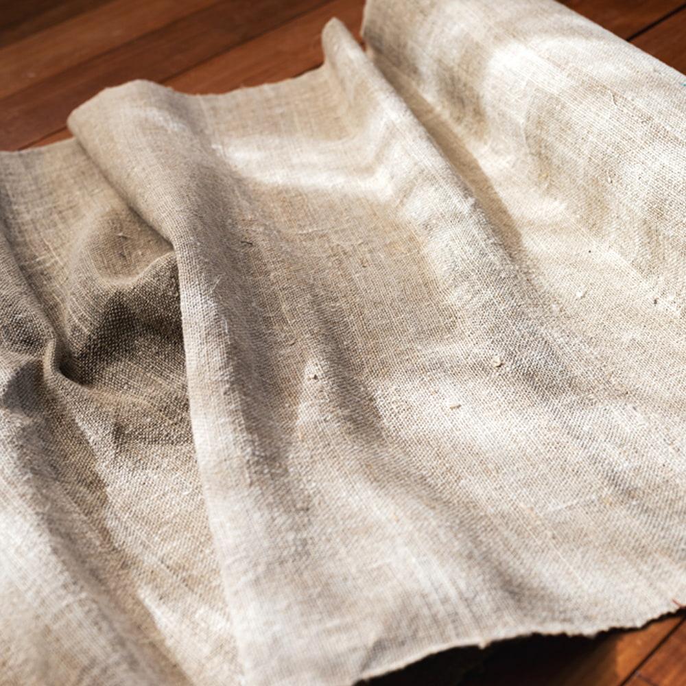 【1m切り売り】ワイルドヘンプの手織り布地 - 幅77cm前後の写真