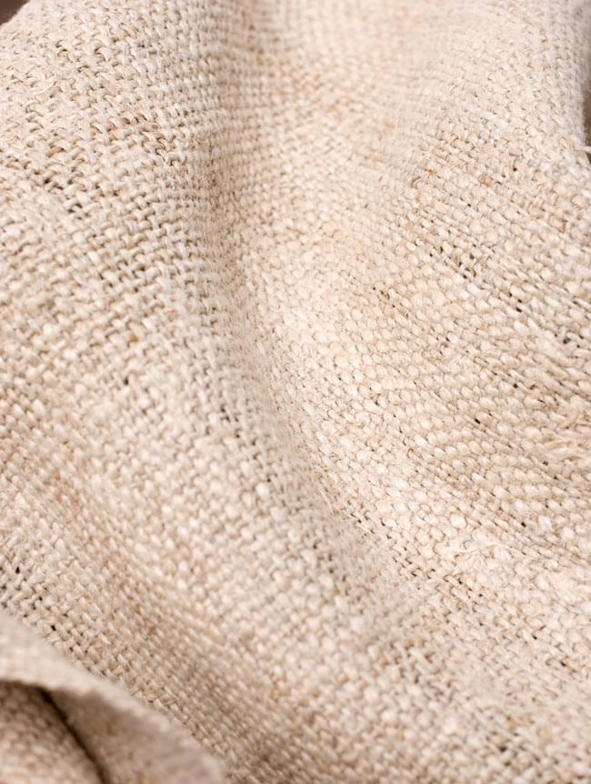 [手芸用]ワイルドヘンプの手織り布地 6 - 少しくしゃっとさせてみました。