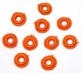 【10個セット】インドの丸鏡カバー 20mm - オレンジ