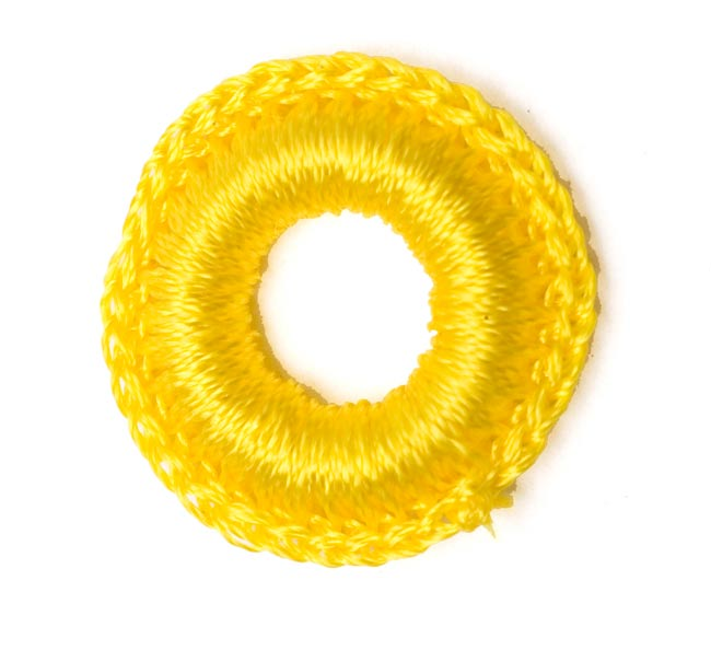 【10個セット】インドの丸鏡カバー 【20mm 黄色】 2 - 表はこんな感じで凹凸があります。