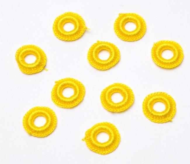 【10個セット】インドの丸鏡カバー 【20mm 黄色】の写真
