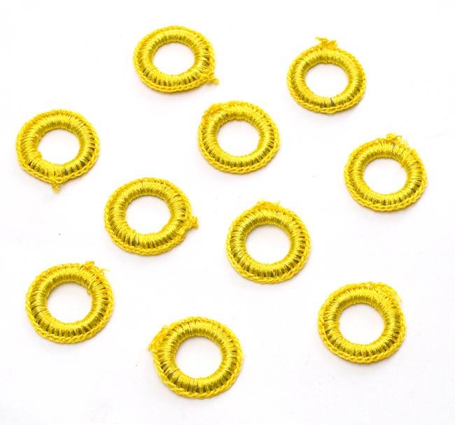 【10個セット】インドの丸鏡カバー 25mm - 黄色の写真
