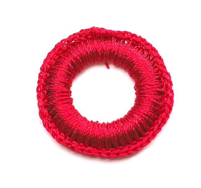 【10個セット】インドの丸鏡カバー 25mm - 赤 2 - 表はこんな感じで凹凸があります。