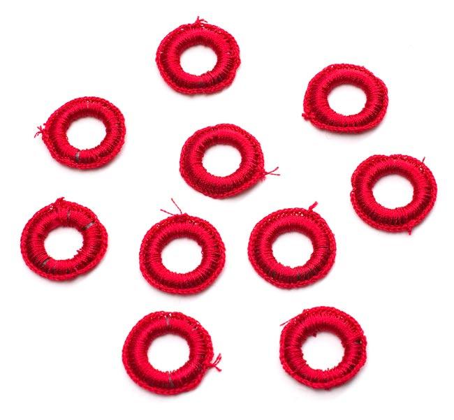【10個セット】インドの丸鏡カバー 25mm - 赤の写真