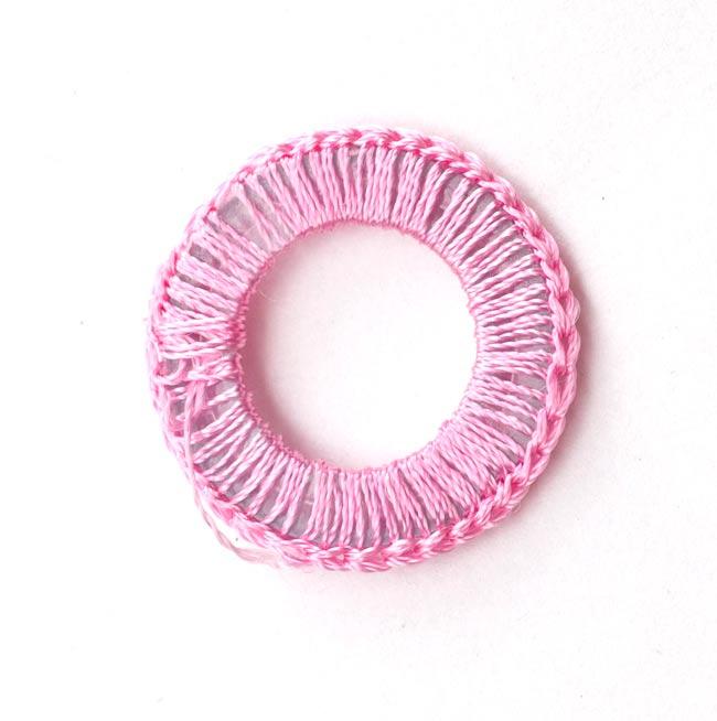 【10個セット】インドの丸鏡カバー 25mm - ピンク 3 - 裏面です。
