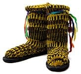 ネパールのニット・ブーツ 【黄緑×黒・斑】