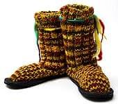 ネパールのニット・ブーツ 【赤×黄×緑・斑】