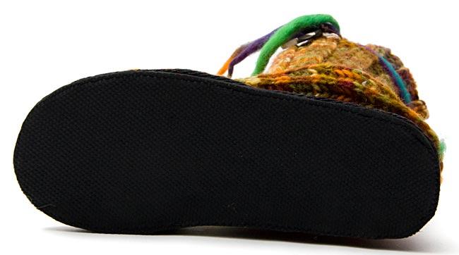 ネパールのニット・ブーツ 【茶色×オレンジ×緑・斑】の写真5 - ソール部分の写真です。詳しくは商品データ欄の「ソールについて」をお読みください。