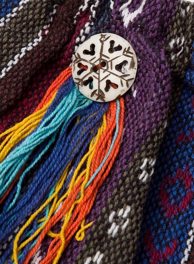 ネパールゲリ素材のブーツカバー 【紫系】 3 - サイドにはモチーフがついています。