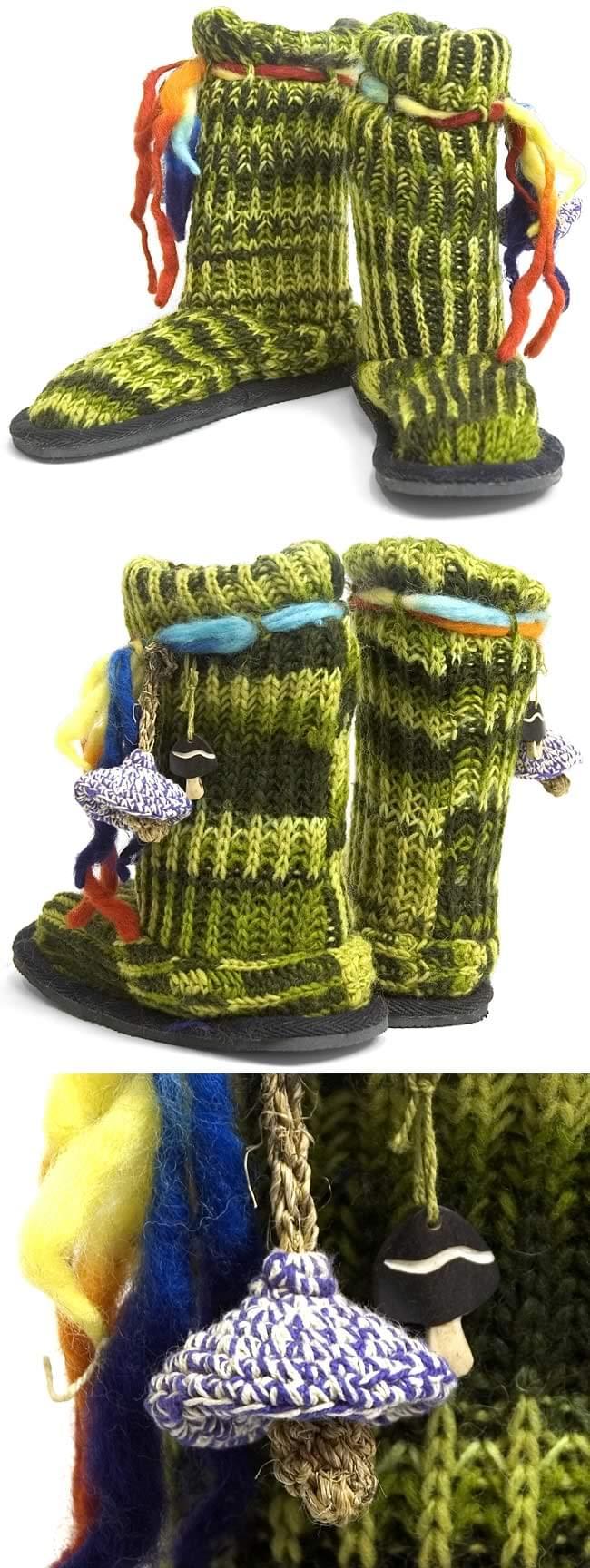 ネパールのニット・ブーツ 【グリーン・斑】の写真1