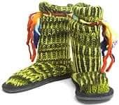 ネパールのニット・ブーツ 【グリーン・斑】