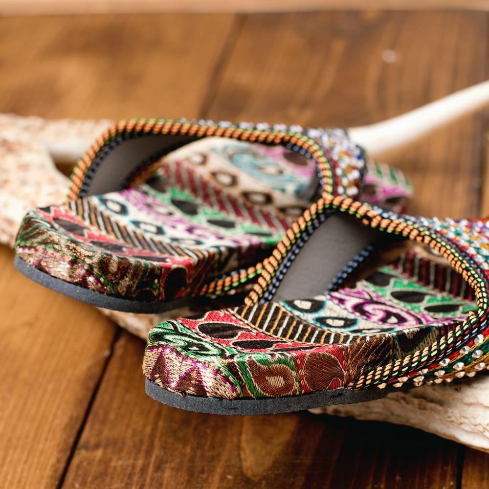 インドのカラフル刺繍ビーチサンダル 5 - 踵の部分です
