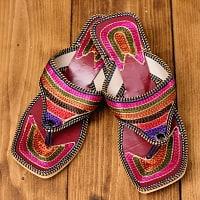 インドのカラフル刺繍トングサンダル - 【ヒール付き】