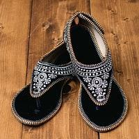 インドのカラフル刺繍トングサンダル - 【踵テープ】
