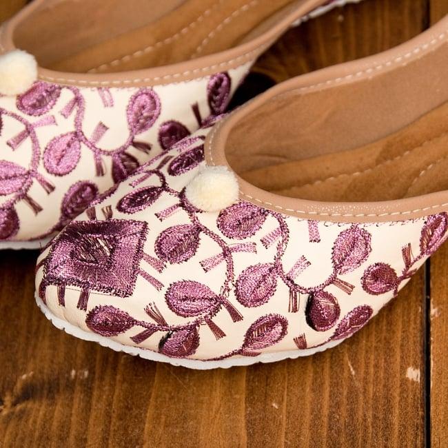 ゴージャス刺繍のマハラニフラットシューズ 3 - 拡大写真です