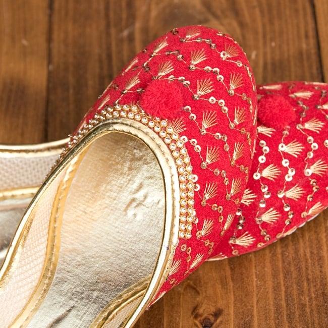 ゴージャス刺繍のマハラニフラットシューズ 8 - とても綺麗な装飾