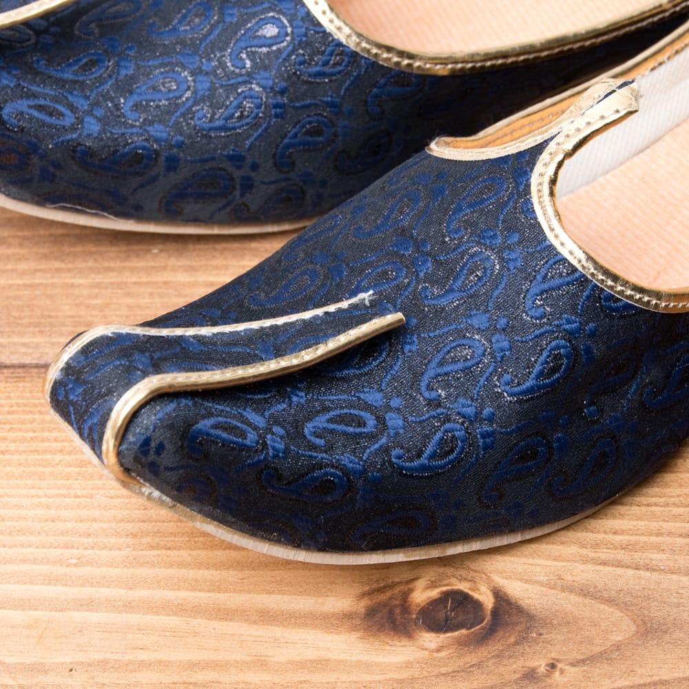 男性用宮廷靴 - モジャリネイビー 2 - つま先部分をアップにしてみました。インドらしいデザインが可愛いです。
