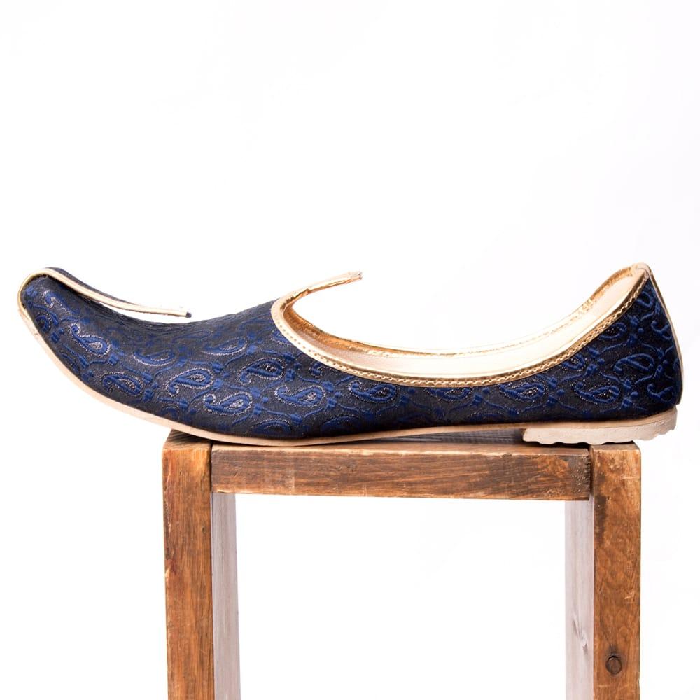 男性用宮廷靴 - モジャリネイビー 4 - 横からの写真です