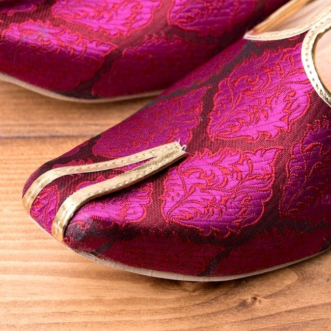 男性用宮廷靴 - モジャリパープル 2 - つま先部分をアップにしてみました。インドらしいデザインが可愛いです。
