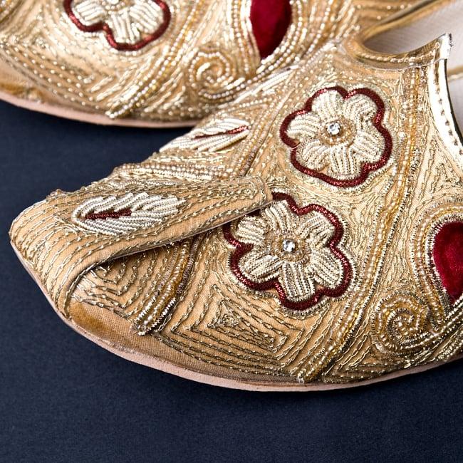 男性用宮廷靴 - モジャリゴールド 2 - つま先部分をアップにしてみました。インドらしいデザインが可愛いです。